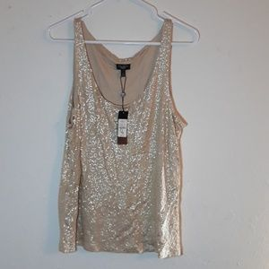 Talbots sparkly gold sequin petite top